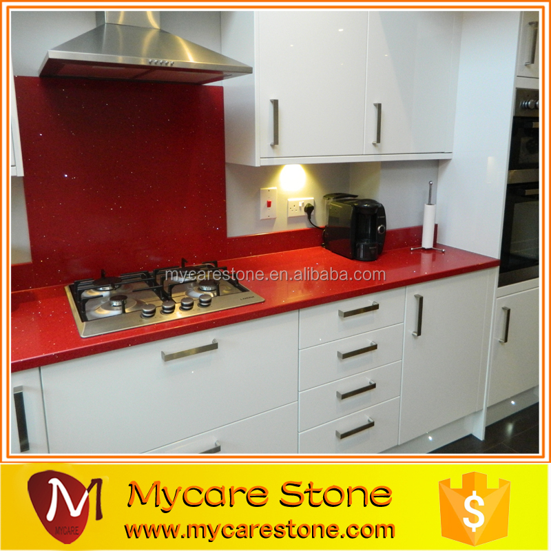 Red Quartz Kitchen Countertop: Red Sparkle Quartz Stone Countertops Quartz Stone Rose