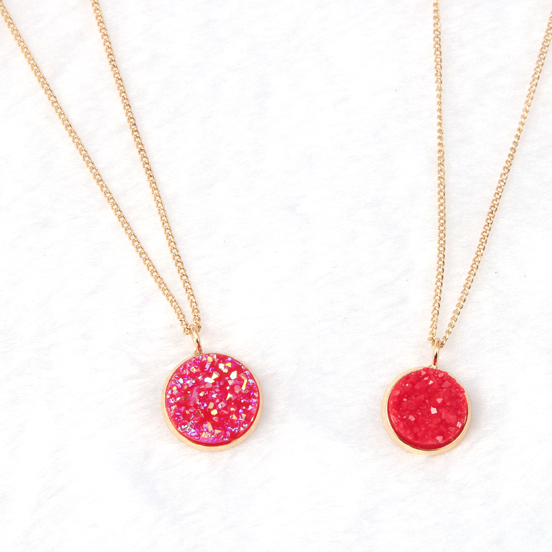 New Creative Jewelry Round Resin Gemstone Pendant Chain Druzy Necklace