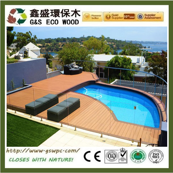 Outdoor Patio / Terrace Composite Solid Decking anti-slip Wood Plastic Composite Board