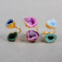 Boho double stone ring,natural druzy geode quartz rings Guangzhou wholesale jewelry