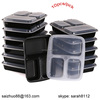 3-compartment black disposable food plastic container