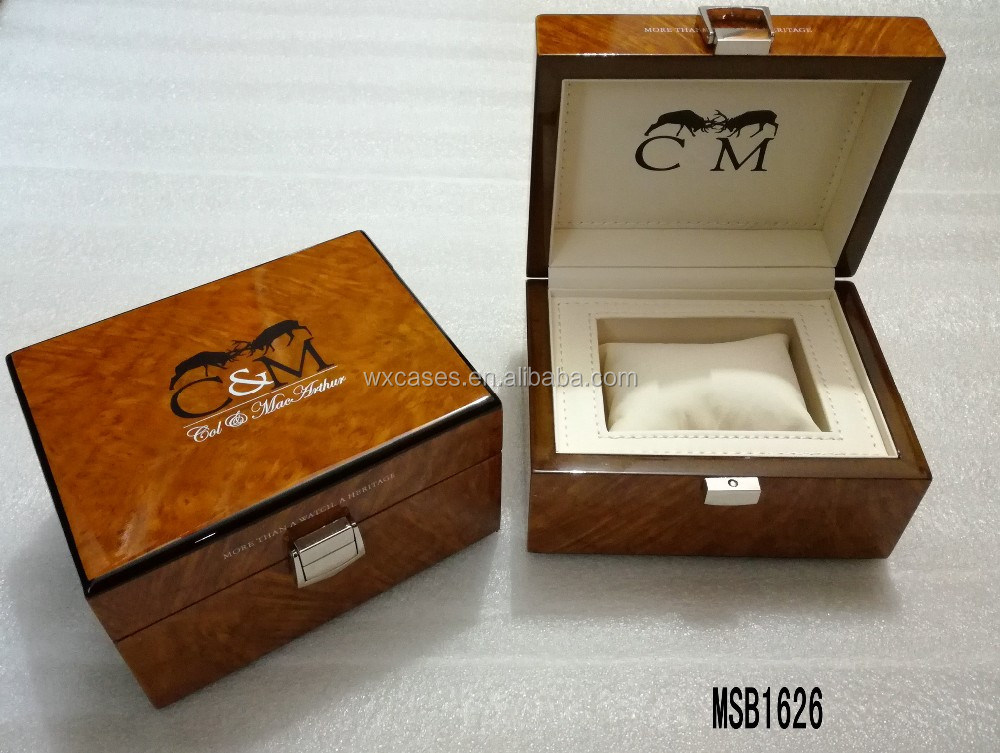 big sizes wooden watch box for single watch hot sell