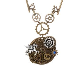 steampunk necklace gear pendant mechanical accessories horse animal necklace wholesale
