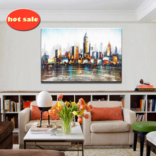 simple colourful Abstract City scenery Canvas Oil Painting Wall Art YB-135