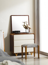 wooden bedroom dresser cabinet dressing table with mirror and stool