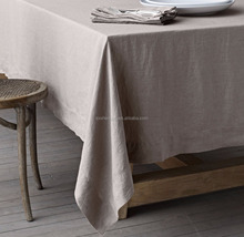 2017 New stonewashed Belgian 100% linen high quality custom size hemstitch tablecloth