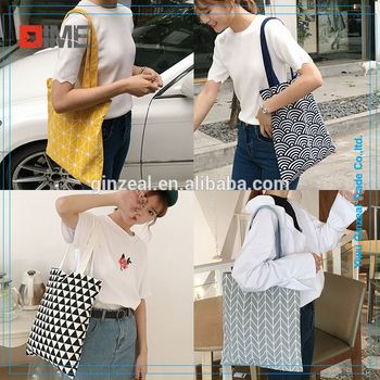 White Cotton Shopping Bag With Printing