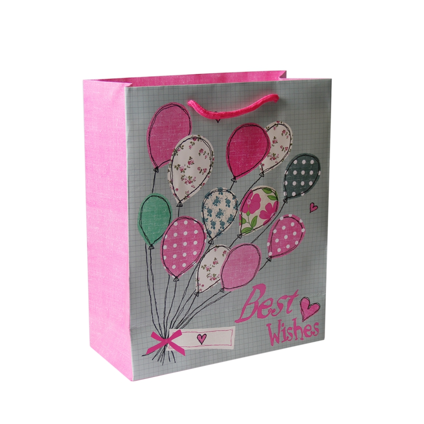 Custom foil stamped paper shopping bag with logo for gifts