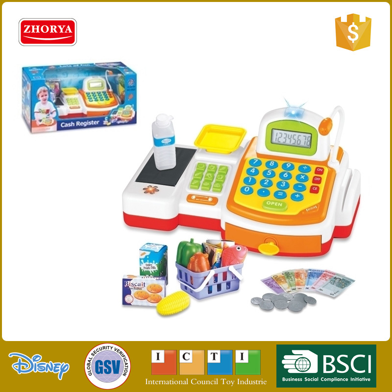 children preschool Electronic led light supermarket cash register toys set with plastic food fish fruit