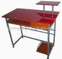 red glass pc computer desk