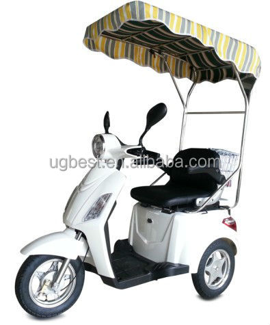 800 w UGBEST Tres EEC three wheel electrical scooter with shelter against sunshine