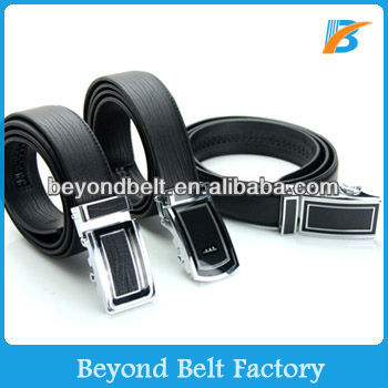 Beyond Men's Black Stylish Embossed Top Layer Genuine Leather Ratchet Belt