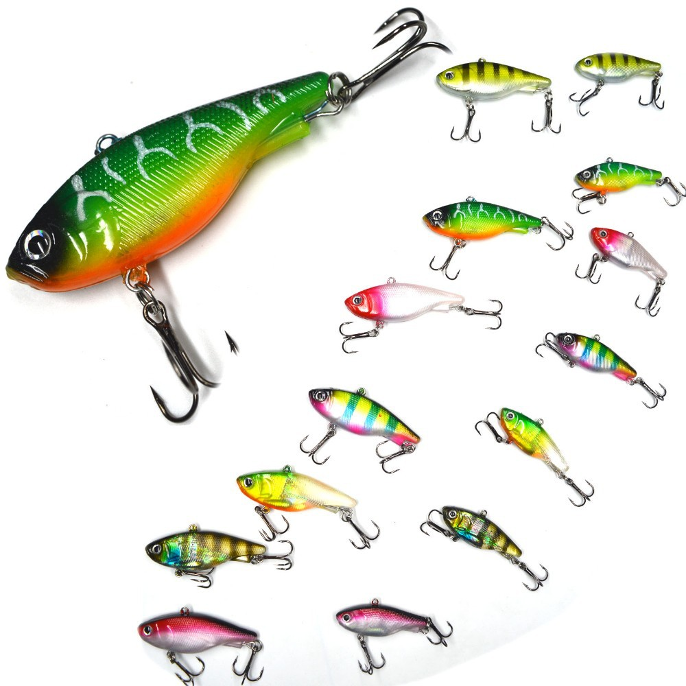 Selling High quanlity Soft Vibe Fishing Lure Mask Vibe Gene Vibration Sinking Lure 2 hook rubber fish 45mm 14g