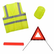 Hot sale E-mark high visibility car safety kits with warning triangle and reflective safety vest