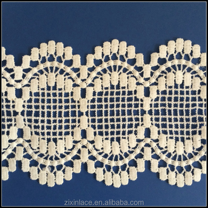 Borderie lace edging milk silk white polyester/cotton lace