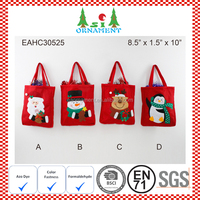 Red color with embroidery doll head of christmas gift bag
