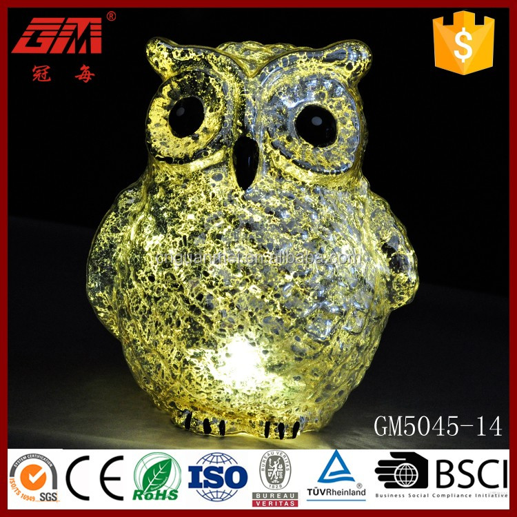trade assurance blown hotsale halloween decoration owl with led light
