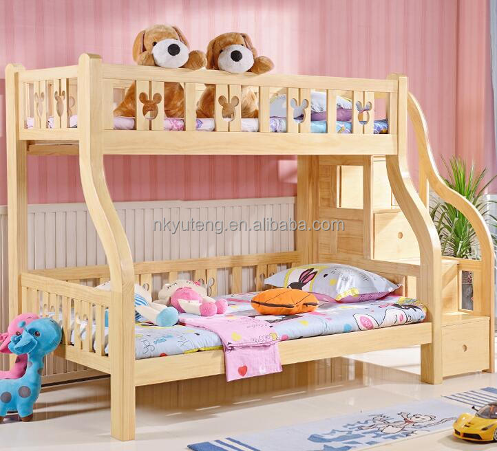 Jiangxi full solid wood kids bed 1.2m 1.5m children's bunk bed with storage cabinet