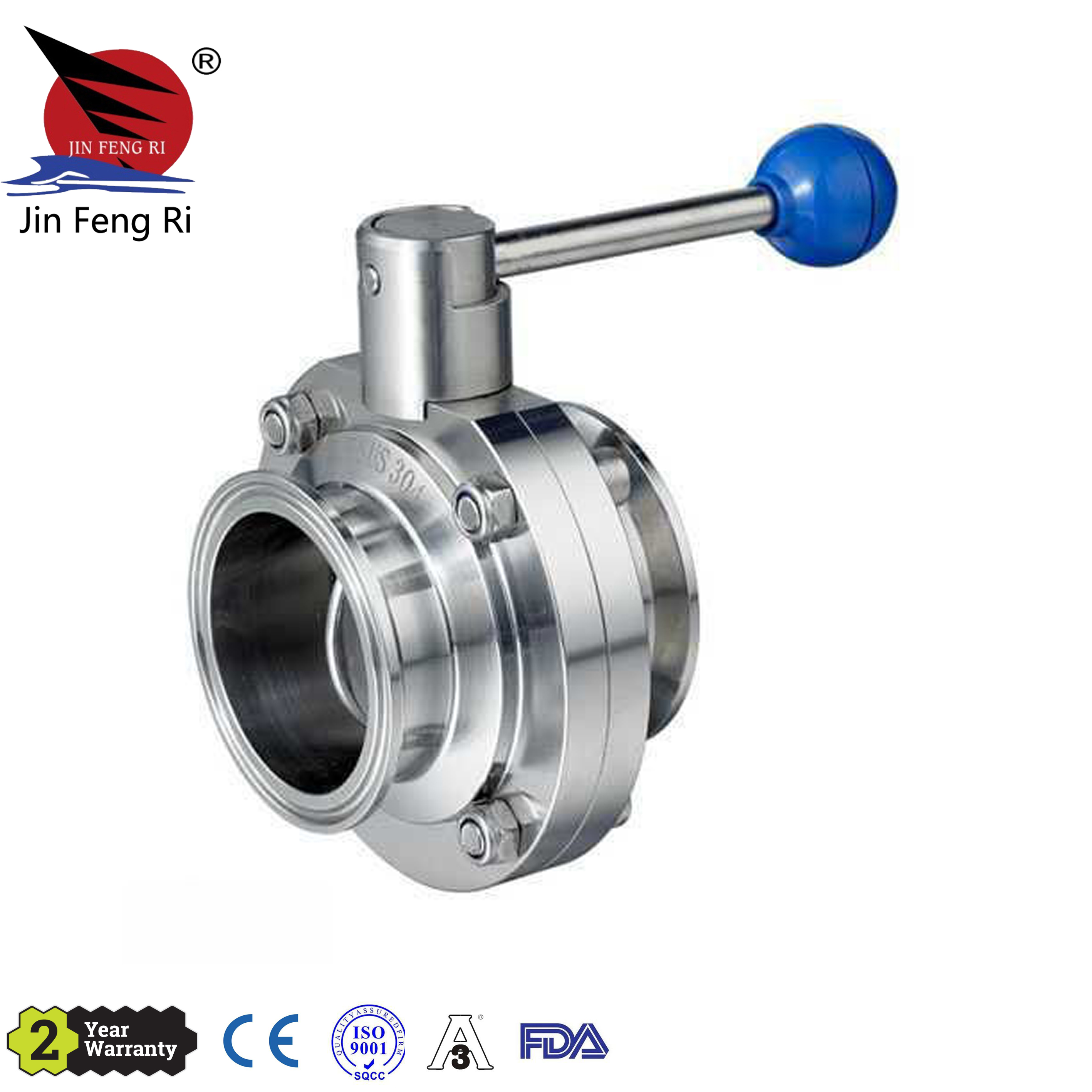Sanitary Stainless Steel 304 316L ISO SMS DIN Manual Clamp Butterfly <strong>Valve</strong>