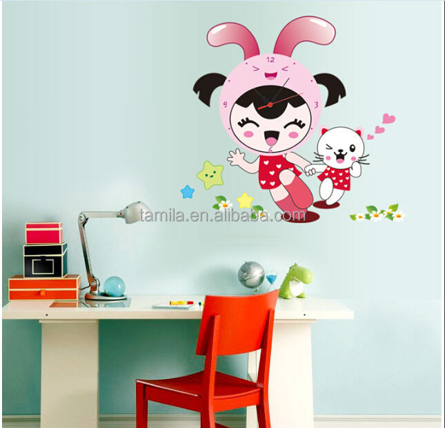 3D Sweet Girl Wall Sticker Orologio