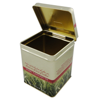 Food Use Metal Material rectangular hinged spice tin container