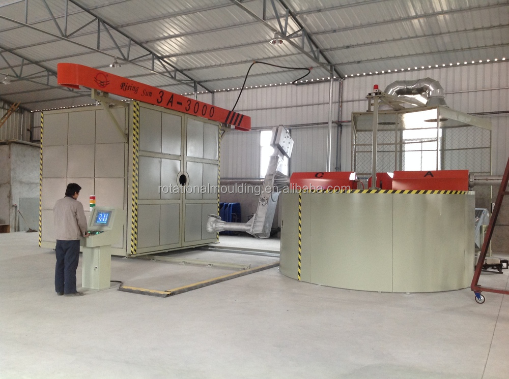 Carousel rotomolding machine for producing High Insulated Plastic Bulk Containers