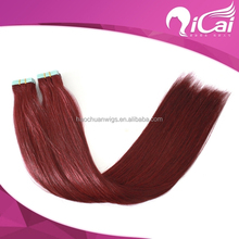 Wholesale red color tape human hair extension shedding free 7a brazilian unprocessed virgin hair