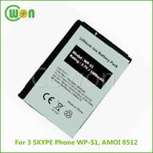 3.7V 1000mAh brand new replacement battery for 3 SKYPE Phone WP-S1, battery for AMOI 8512