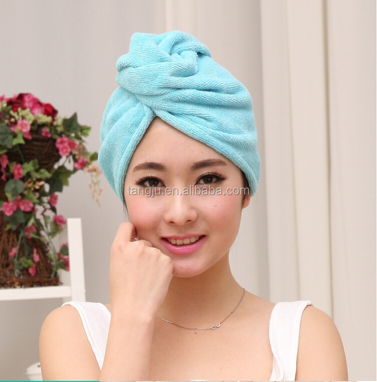 soft high absorbent fast drtying rich colors emboridery logo microfiber hair turban wrap towel