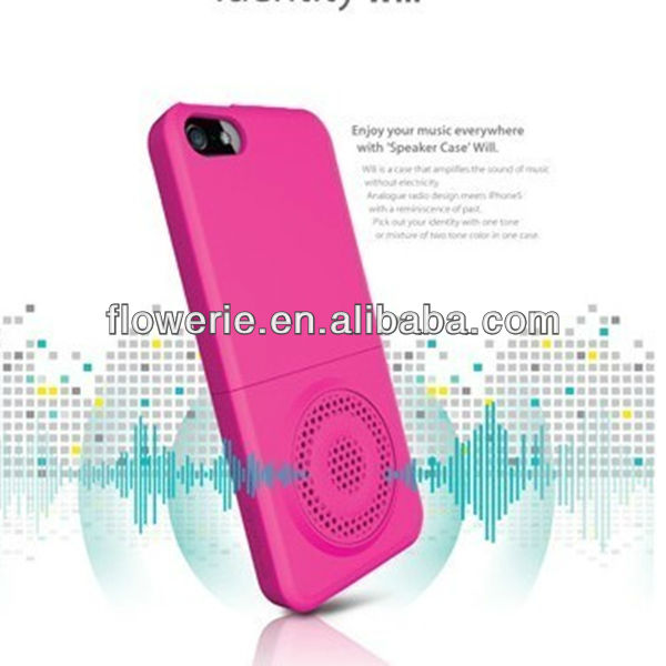 FL2495 2013 Guangzhou hot selling two-color horn speaker phone case for iphone 5 5G