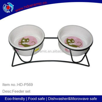 Ceramic Round shape Pet Bowl & Feeder ,Pet bowl with metal stand,the lastest customized ceramic bowl for cat