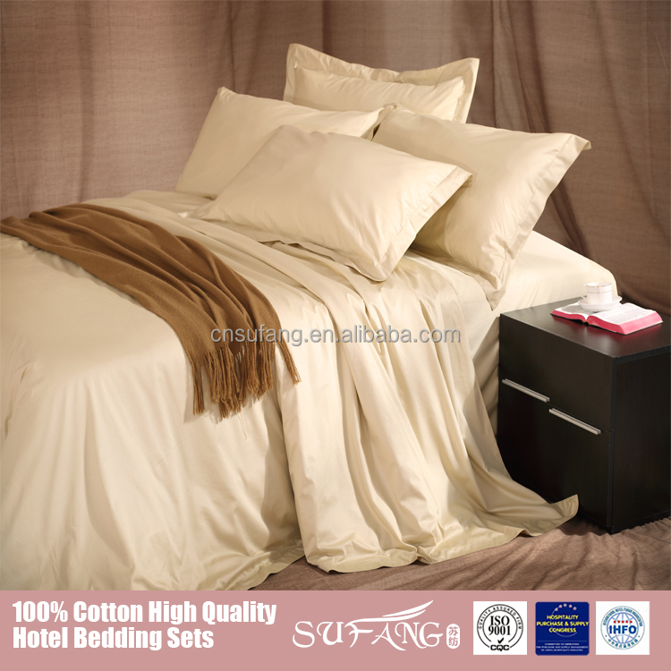 King size 400TC satin 100% cotton hotel use 80s bedding set
