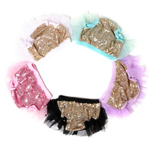 Sequin Short Wholesale Baby Girls Ruffle Bloomers