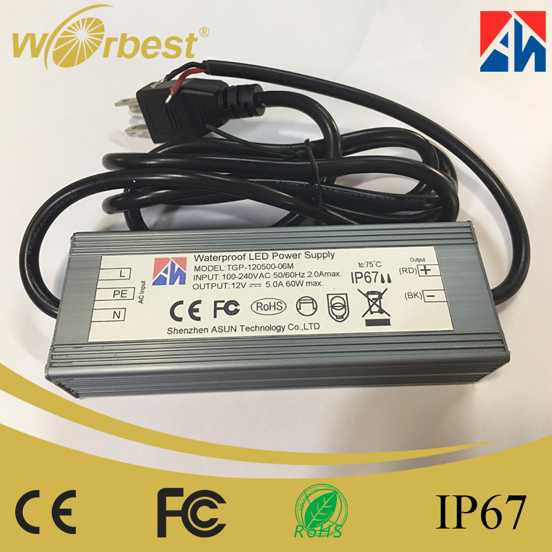 2017 new and popular 60w 12v 5A DC input 220v ac led constant voltage driver
