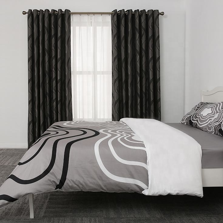 Dark grey one side jacquard office hotel curtain luxury curtains drapes and blinds