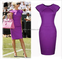 2015 high quality plain ladies designer work office wear penil dresses H005