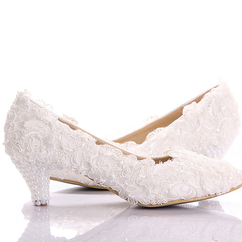 e9596fb4689 Get Quotations · White Lace Low Heel Wedding Bridal Shoes Kitten Heel  Bridesmaid Shoes Elegant Party Embellished Prom Shoes