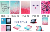 Fashion Printing Design Flip PU Leather Card Holder Stand Case Cover For Apple iPad 2 3 4