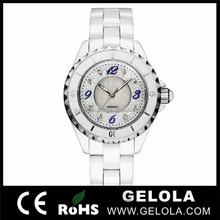 Diamond case white color ceramic watch band brand wrist watch in alibaba.com france