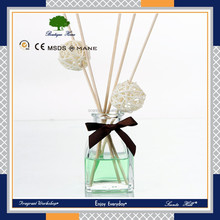 2016 hot selling 50ml glass bottle wholesale aroma reed diffuser with rattan ball