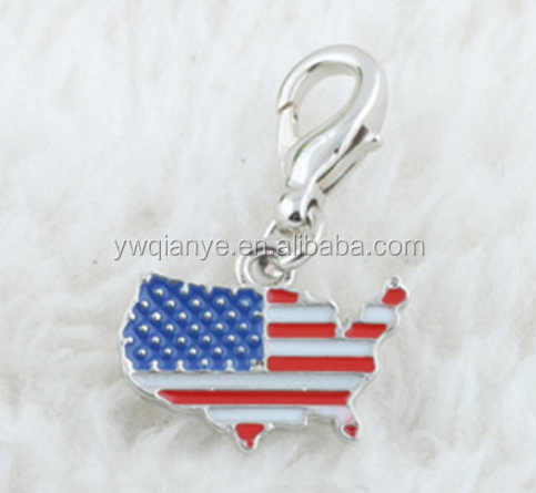 Asia China Factory Wholesale Metal Custom American Flag Charm