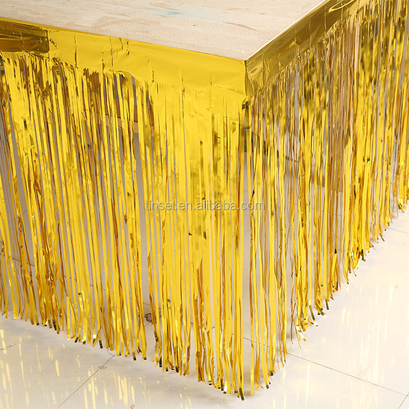 Golden metallic membrane table curtain of party decorations