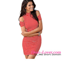 White Red Stripe Sexy Short Tight Mini Dress Fashion Women Unique Design Crew Neck Mini Dress 2016