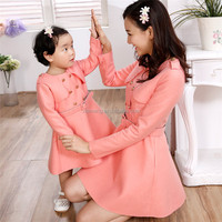 Wholesale mother and daughter winter thin wool dress