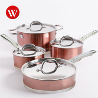 FDA approval induction 8 pieces cooking pots and pans Copper Polishing Finishing Stainless Steel Cookware Saucepan