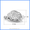 White Rhodium Plated Zircon Pave Sterling Silver Butterfly Box Clasps Hooks Jewelry Findings For Pearl Necklace SC-BC225