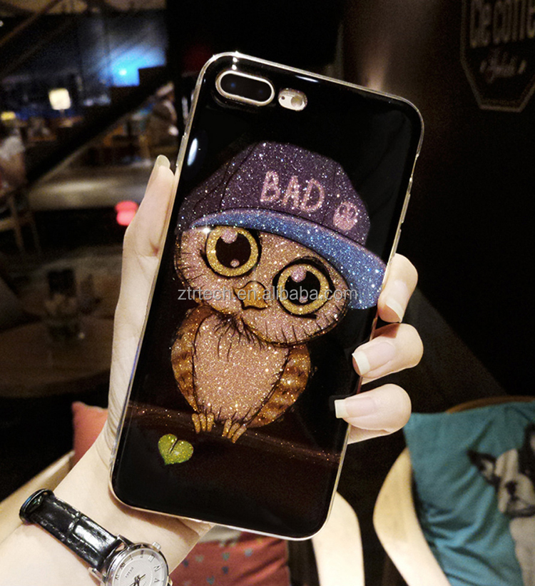 3D cartoon animal owl pattern soft tpu liquid glitter hand phone case for iphone 7,7plus, for iphone x