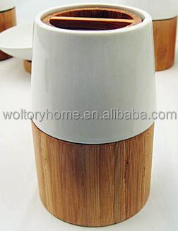 Retail natural bamb y cer mica accesorios de ba o set for Accesorios bano bambu