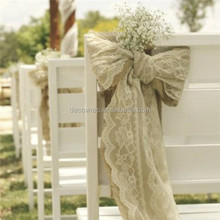 burlap with lace sash for wedding chair bow