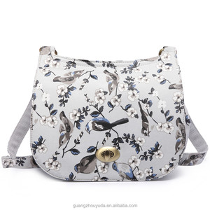 2018 NEW ARRIVAL E6640-16J MISS LULU MATTE OILCLOTH FLOWER SADDLE BAG GUANGZHOU FACTORY WOMEN BAGS FASHION HANDBAGS HOTSELL